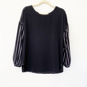 Status By Chenault Striped Polka Dot Top Size M